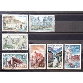 Série Touristique n° 1435 + 1436 + 1437 + 1438 Gorges du Tarn + 1439 Paysage Vendéen + 1440 Carnac + 1441 Joux Obl - Cote 4,10€ - France Année 1965 - N17460