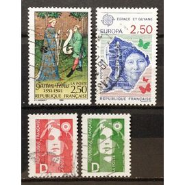 Europa - Espace et Guyane 2,50 (N° 2696) + Gaston Fébus 2,50 (N° 2708) + Marianne Bicentenaire D Vert (N° 2711) + D Rouge (N° 2712) Obl - France Année 1991 - N18016