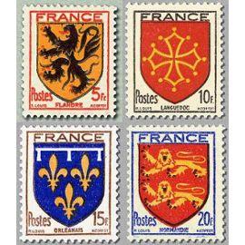france 1944, très belle série complète neuve** luxe blasons, yvert 602 flandre, 603 languedoc, 604 orléanais, 605 normandie.