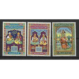 ALGERIE 1965 : Enluminumes-miniatures-de-Mohamed Racim : Musiciens (Rhâb et luth) / Musiciennes (Derbouk et Tara) / Princesse et gazelle - Série entière de 3 timbres NEUFS ** cote 21,30 €