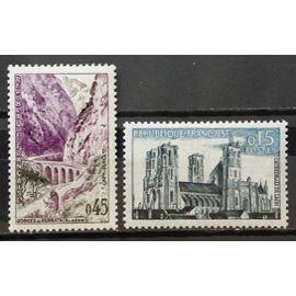 Cathédrale de Laon 0,15 (N° 1235) + Gorges de Kerrata 0,45 (N° 1237) Neufs** Luxe - France Année 1960 - N18415
