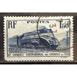Chemins de Fer Locomotive Pacific carénée 1f50 outremer (Joli n° 340) Obl à Petit Prix - Cote 8,50€ - France Année 1937 - N17741