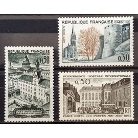 Centenaire Confèrence Postale Internationale 0,50 (N° 1387) + Lycée Louis le Grand 0,30 (N° 1388) + Congrès Sociétés Philatéliques Caen 0,30 (N° 1389) Neuf** Luxe - France Année 1963 - N18437