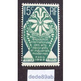 france.. 15c exposition internationale des arts décoratifs et industriels modernes - paris 1925 - neuf avec gomme & sans charnière.