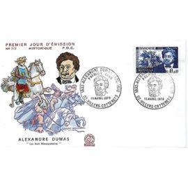 """France 1970, très belle enveloppe 1er jour fdc 717, alexandre dumas, """"les trois mousquetaires"""", timbre 1628, neuve**"""