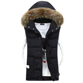 Doudoune de manche Couleur homme la col Slim hiver de fourrure Épaississant Manteau capuche mode homme avec unie vêtement sans sans manche chaud de de EID2YeWH9