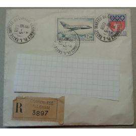 Timbres France Poste Aérienne 1965 Yvert et Tellier n°PA42 + 1354B + Vignette Corbeil-Ess. PL.L. Casse 3897 Oblitérés 1968 sur enveloppe