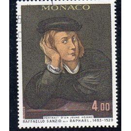 Timbre-poste de Monaco (tableau de Raphaël : portrait de jeune homme)
