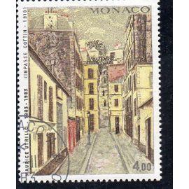 Timbre-poste de Monaco (tableau de Maurice Utrillo : impasse Cottin)