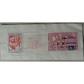 """2 Timbres France 1966 1968 Yvert et Tellier n°1468 Blason Auch, 1548 Prévention Routière Bord de Feuille Oblitérés """"Emprunt PTT 6,3%"""" sur coin d"""