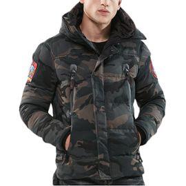 acheter en ligne 8c50d ccb59 Doudoune homme Camouflage Manteau à capuche la mode Blouson hiver  Épaississant Garder au chaud avec Badges