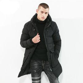 check-out e920e 329e4 Doudoune longue homme Manteau hiver à capuche la mode Parka homme Couleur  unie Épaississan Garder au chaud Blouson pour hommes de Vêtements ...