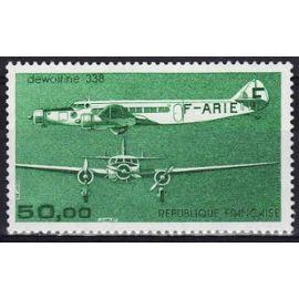france 1987, très bel exemplaire neuf** luxe - poste aérienne yvert 60, avion dewoitine 338, face et profil.