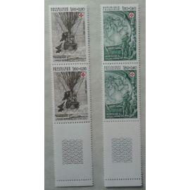 2 Blocs de 2 Timbres Bord de Feuille France 1982 Yvert et Tellier n°2247 et 2248 Croix Rouge Hommage à Jules Verne Neuf** Gomme Intacte