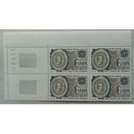 Bloc de 4 Timbres Coin de Feuille France 1982 Yvert et Tellier n°2208 Europa Traité de Verdun 843 Numéroté 31827 Neuf** Gomme Intacte