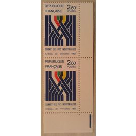 Bloc de 2 Timbres Coin de Feuille France 1982 Yvert et Tellier n°2214 Sommet des pays industrialisés Neuf** Gomme Intacte
