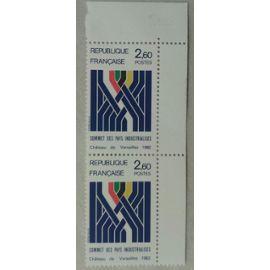 Bloc de 2 Timbres Paire Coin de Feuille France 1982 Yvert et Tellier n°2214 Sommet des pays industrialisés Château de Versailles Neuf** Gomme Intacte