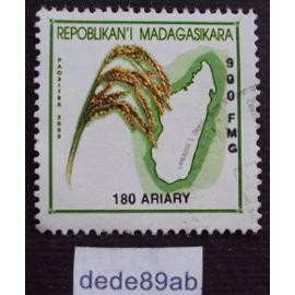 madagascar..  180 ariary paositra malagasy 2000 . épis de blé et plan de l