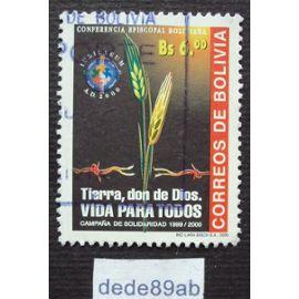 bolivie..  6.00 bs correos de bolivia . épis de blé . tierra,don de dios.coférencia épiscopal   . oblitéré used stamp.