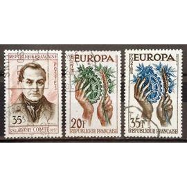 Auguste Comte 35f (N° 1121) + Europa Fruits dans Mains 20f (N° 1122) + Europa Fruits dans Mains 35f (N° 1123) Obl - France Année 1957 - N19300
