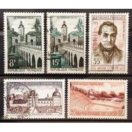 Le Quesnoy 8f (N° 1105) + Le Quesnoy 15f (N° 1106) + Auguste Comte 35f (N° 1121) + Bimillénaire de Lyon 20f (N° 1124) + Château de Valençay 25f (N° 1128) Obl - France Année 1957 - N19266