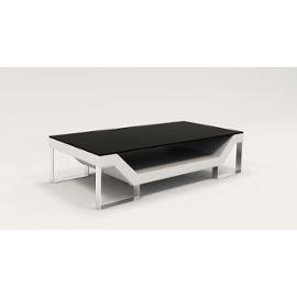 Table Basse Design Blanche Pieds Chromé Ulys