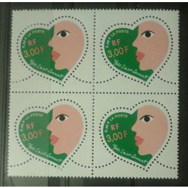 Bloc de 4 Timbres France 2000 Yvert et Tellier n°3296 Coeur Yves Saint Laurent Neuf** Gomme Intacte