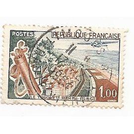 Timbre France Oblitéré 1962 Le Touquet Paris-Plage 1,00f. Yvert 1355