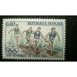 TIMBRE FRANCE (YT 1573) 1968 Jeux olympiques de Mexico en 1968. 4x100m