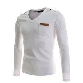 beau lustre divers design Conception innovante T-shirt homme slim Manche Longue Col V Bouton de décoration Polos de  Décoration en cuir artificiel Pull