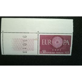 TIMBRE FRANCE (YT 1267 ) 1960 Mot EUROPA, O comme une roue avec 19 rayons