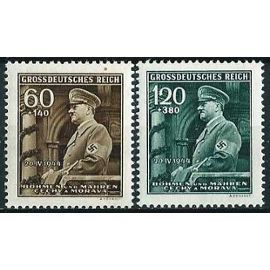 tchécoslovaquie, occupation allemande, bohème et moravie 1944, 2 val 55ème anniversaire chancelier hitler, yv. 115 & 116, neufs** luxe