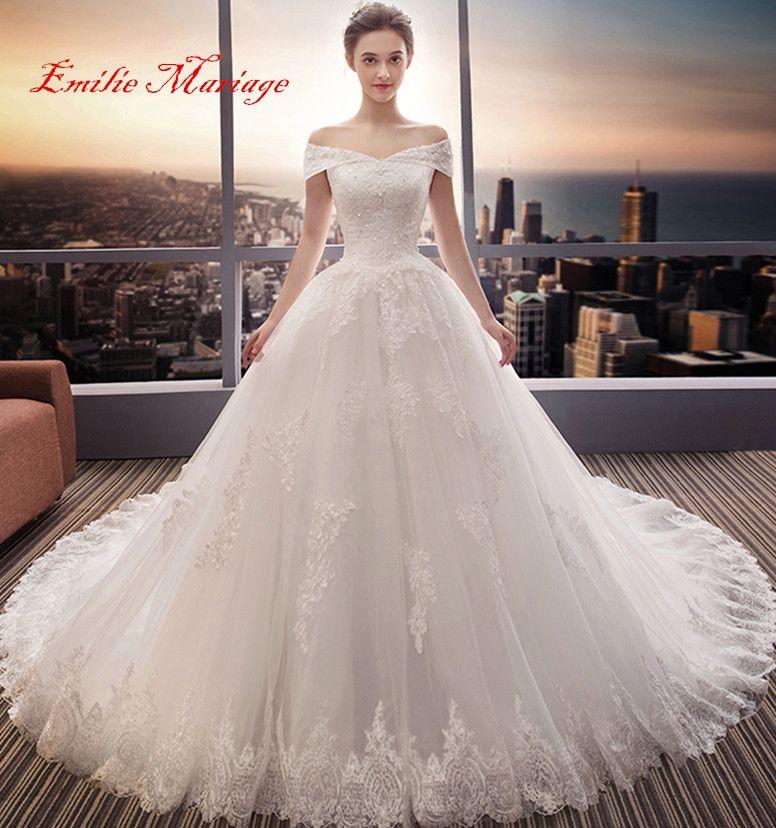 Robe de mariée,robe princesse col bateau