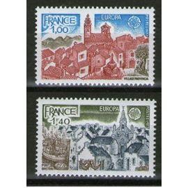 Timbres 1977 europa : village provençal et port breton la paire n° 1928 1929 yvert et tellier
