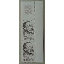 Bloc de 2 Timbres Coin de Feuille France 1982 Yvert et Tellier n°2251 Léon Blum Neuf**