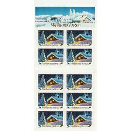 france 2002, très beau bloc yvert 3534A, 10 timbres autocollants 3534, meilleurs voeux, chalet sous la neige, neuf** luxe