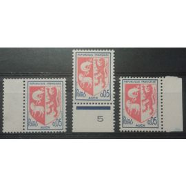Lot 3 Timbres Bords de Feuille France 1966 Yvert et Tellier n°1468 Armoiries Auch 0,05 Neufs**