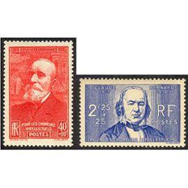 france 1939, au peofit des chômeurs intellectuels, beaux exemplaires yvert 436 puvis de chavannes, et 439 claude bernard, neufs** luxe