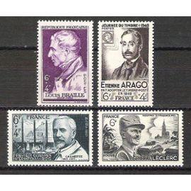 france, 1948, louis braille, journée du timbre, b.c.g. (dr calmette), général leclerc, n°793 + 794 + 814 + 815, neufs.
