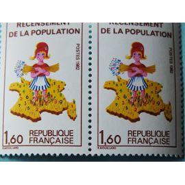 2 Timbres Recensement de la Population 1982 dont 1 sans le chiffre 7 sur la Corse