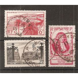 777 à 779 (1947) Cannes / Nancy / Louvois oblitérés (cote 3e) (5052)