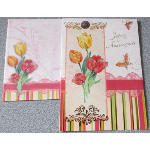 Jolie Carte Double Gaiement Coloree Avec Bouquet De Fleurs Et Papillons Mention Doree Joyeux Anniversaire Avec Enveloppe Assortie Rakuten