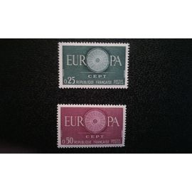 TIMBRE FRANCE ( YT 1266-1267 ) 1960 Mot EUROPA, O comme une roue avec 19 rayons
