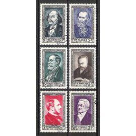 france, 1952, célébrités et personnages célèbres du 19è siècle, n°930 à 935, oblitérés.