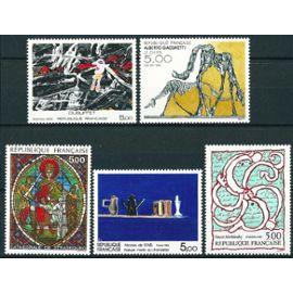 france 1985 - série tableaux - 2363 vitrail cathédrale de strasbourg, 2364 nicolas de stael, 2381 dubuffet, 2382 alechinsky, 2383 giacometti, neufs** luxe