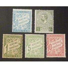 monaco timbre taxe neuf Y&T N° 1 à3 et 6 8 Lot de 5 timbres de 1905-10