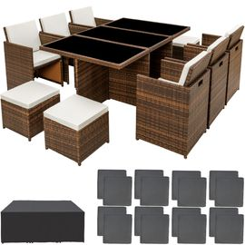 TECTAKE Salon de jardin NEW YORK Résine Tressée Structure Aluminium 6  Chaises 4 Tabourets 1 Table Marron