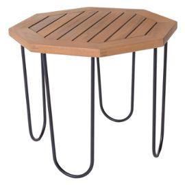 Table de salon de jardin octogonale 50cm en bois d\'acacia et métal  SALAMANQUE - L 50 x l 50 x H 40