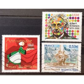 Aix-En-Provence - Fontaine 4 Dauphins (N° 3777) + Timbre Anniversaire - Bécassine (N° 3778) + Albert Einstein 0,53€ (N° 3779) Obl - France Année 2005 - N20197