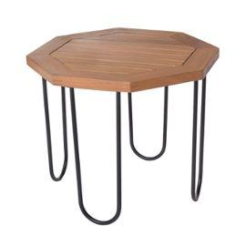 Table de salon de jardin octogonale 45cm en bois d\'acacia et métal  SALAMANQUE - L 45 x l 45 x H 36